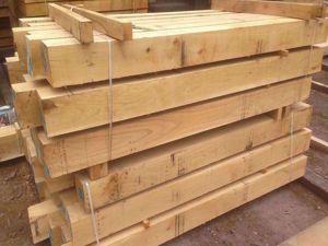 Fresh Sawn European Oak Beams in EC Forest Products yard.