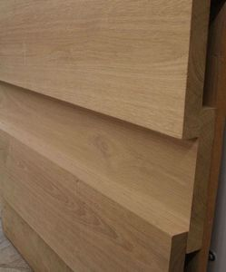 Board on Board cladding in Oak. Available in a variety of widths from EC Forest Products.